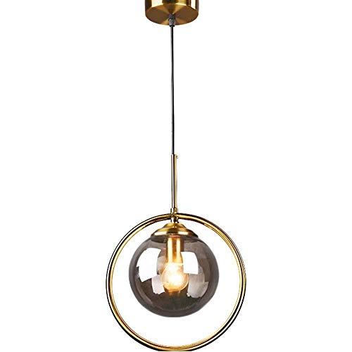 Huati kroonluchter, decoratie van de familie, voor lamp van messing, met lampenkap van glas, grijs, industrieel, vintage, plafondlamp EFRA-8751