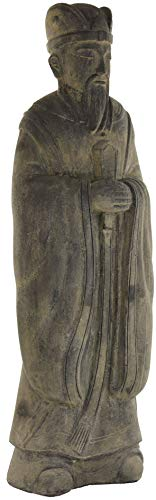 korb.outlet Große Gartenfigur Mandarin 160cm / Weiser Mann Steinguss China/Figur Chinesischer Weiser Wanderer/Steinfigur Statue XL Lavastein für Haus und Garten