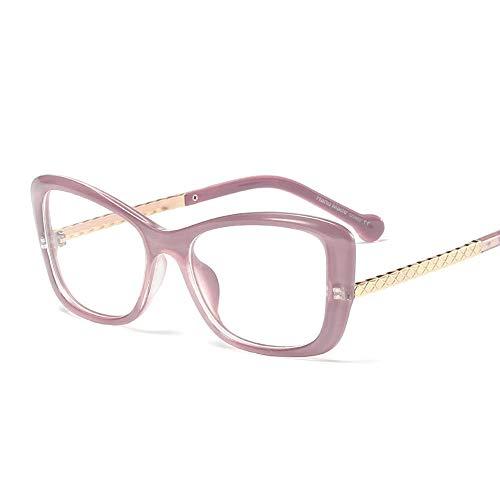 JKHOIUH Marco de los vidrios del Ojo de Gato del Metal del Vintage de Las señoras, vidrios Transparentes del Marco de Cristal Plano de los vidrios de Espejo (Color : Bean Paste Purple)