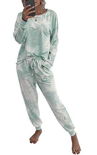 Spec4Y Pyjama Damen Zweiteilige Nachtwäsche Tie Dye Druck Langarm Oberteil Lang Hose Schlafanzug Loungewear mit Taschen 2035 Grün Weiß Large