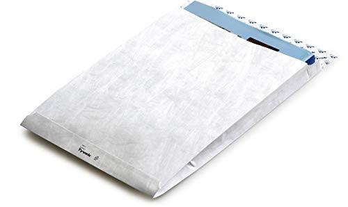 BONG Versandtasche, mit Falte, 38 mm, ohne Fenster, haftklebend, B4, 250 x 353 mm, Tyvek, weiß (100 Stück)