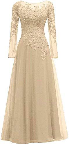 HUINI Abendkleider Spitze Ballkleider Lang A-Linie Brautjungfernkleider Brautkleid Vintage Festkleid Langarm Champagne Gold 58