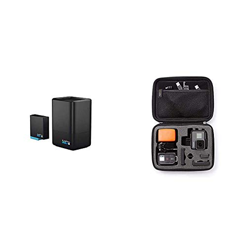 GoPro Dual Battery Charger Battery for Hero8 Hero7 Black Official Accessory Amazon Basics GoPro Carrying Case Small