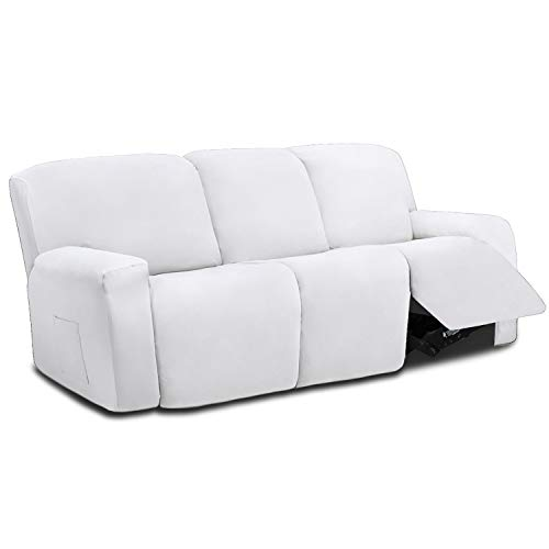 Easy-Going 8 Pieces Microfiber Stretch Sectional Recliner Sofa Slipcover Soft Fitted Fleece 3 Seats Couch Cover Washable Furniture Protector with Elasticity for Kids Pet( Recliner Sofa,Snow White)