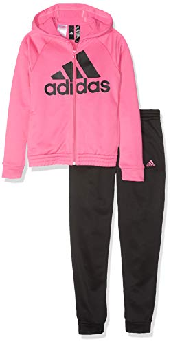 adidas Kinder YG Hood PES TS Sportanzug, Top:Semi Solar Pink/Black Bottom:Black/White, 1112