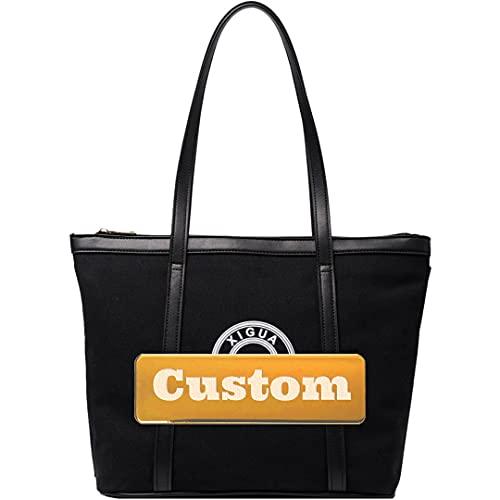 ZZMGDAM Bolsa de Asas de Tela de Tela de Lona de Hombro Personalizada para Mujeres Grandes de diseño Grande (Color : Black, Size : One Size)