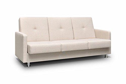 mb-moebel kleines Sofa mit Schlaffunktion und Bettkasten Wohnzimmer Couch Wohnlandschaft 3-Stizer Sofabett Bettfunktion Venus (Creme)