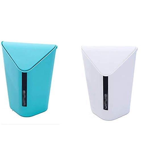 Cubo de basura de plástico con tapa para coche, dormitorio, cuarto de baño, cocina, oficina, habitación de niños, escritorio, papelera (color azul+blanco, tamaño: S) kshu