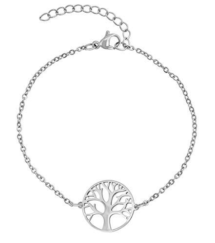 Preisvergleich Produktbild Nuoli® Lebensbaum Armband Damen Silber (15 + 5cm verstellbar) Armband Lebensbaum mit Baum des Lebens Anhänger für Frauen & Mädchen