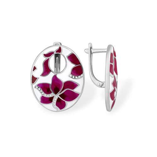 Efremov 1200411692 Earrings 925 Silver Enamel Zirconia Stones Floral Brand Jewellery