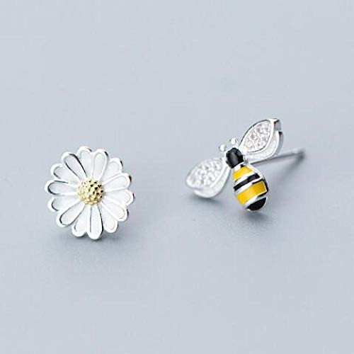 Pendientes Mujer Pendientes De Botón De Mariposa Pequeños Bonitos De Plata De Ley 925, Regalo para Mujer, Joyería De Plata De Moda-H_White_Flower
