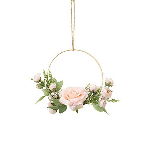 XQK Ghirlande Floreali a Cerchio d'oro, Appeso a Parete Fiore Artificiale Cornice Rotonda Ghirlanda di Rose Rosa per Decorazioni Floreali Fai da Te Artigianato Decorazioni di Nozze (Rosa)