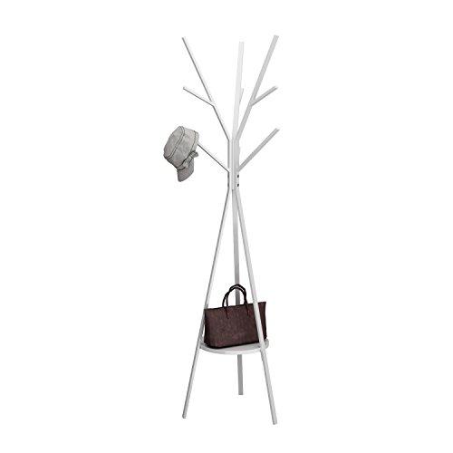 MULSH Standing Coat Rack Hat Hanger Coat Rack Hooks Coat Rack Hall Tree Entryway Standing Hat Jacket Coat Hanger Rack in White,17.72'x17.72'x73.46'(WxDxH)