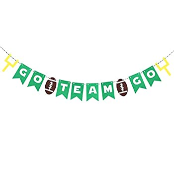 BinaryABC GO Team GO Banner,Football Game Day Decorations,Sport Game Day Party Supplies