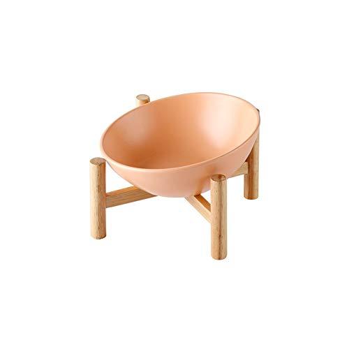 HCHLQLZ keramische gekantelde verhoogde huisdier kom met houten standaard voor katten en honden geen morsen huisdier voedsel watertoevoer, Small, ORANJE