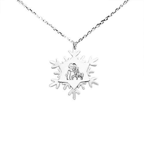 Collar de foto personalizado Collar de copo de nieve Collar de plata de ley 925 Collar de texto tallado Regalo para mamá(Plata 18)