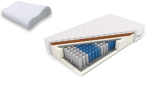 Frankhauer Premium Pocket Matratze mit Kokos Morpheus 80x200cm und Fuma Kissen Antiallergisch Antimykotisch Härte H2 und H3 doppelseitig 7-Zonen Pocket Kokosnuss Attest