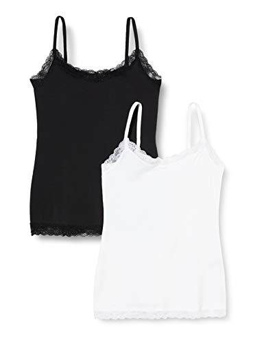 Amazon-Marke: IRIS & LILLY Damen Top Belk029m2, Mehrfarbig (White/Black), XS, Label: XS