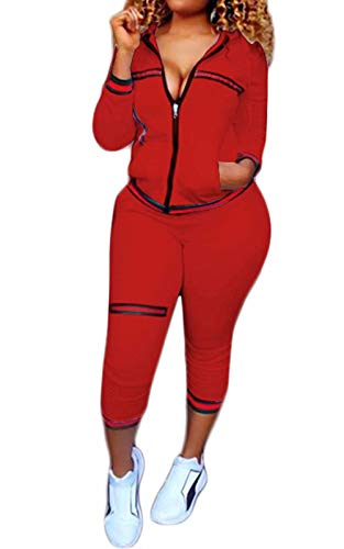 2 Piece Outfits for Women Stripe Tracksuit Sport Jacket Pants Jogging Set Red XL