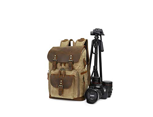 Waterproof Camera Backpacks Vintage Canvas Leather DSLR Rucksacks Shockproof Camera Rucksacks (Khaki)
