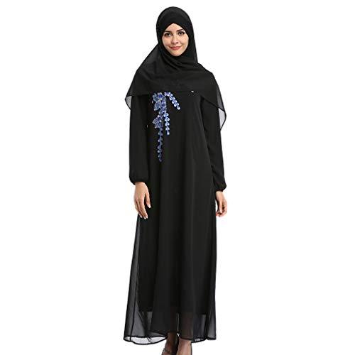 MMOOVV Damen Muslim Kleidung Langarm Arabisch Kleid Islamische Jilbab Kleid Gebet Kleid Ramadan Kleid Dubai Robe Kleid Nahöstliche Türkische Muslimische Kaftan Moslemische Moschee Maxi Dress