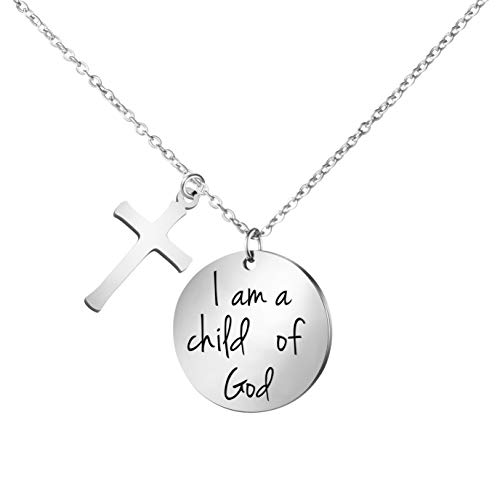 Bible Verse Cross Pendant Christian Necklace Prayer Charm Faith Religious Jewelry Christian Necklaces for Women Girls Engraved I am a Child of God