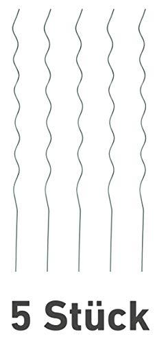 Windhager Tomatenspiralstab-Set, Pflanzstäbe, Rankhilfe für Tomaten Pflanzen Sträucher, Tomatenstangen, 5 Stück, grün, 180cm, 89125, verzinkt