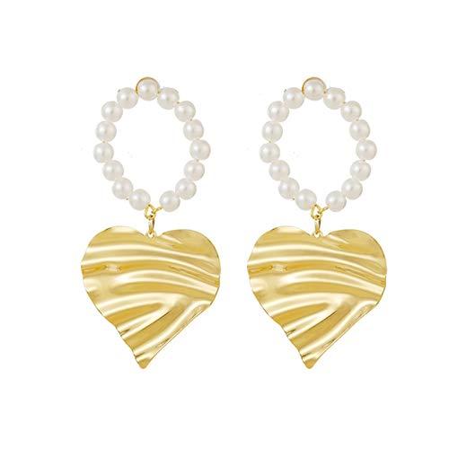 HUAJIA Pendientes Femeninos para Mujer, Pendientes con Forma De Corazón De Perlas De Imitación A La Moda, Pendientes para El Oído, Joyería para El Día De San Valentín