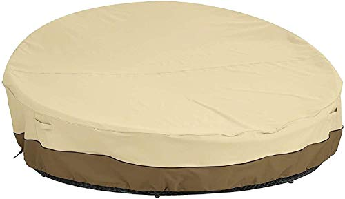 wide smile Patio Rattan Daybed Cover Round Waterproof Daybed Rattan Garden Furniture Cover Breathable Oxford Fabric Outdoor Daybed Sofa Protective Cover 223x216x41/90cm, Beige
