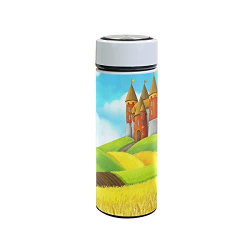 XiangHeFu Reisebecher Thermoskanne Rural Castle Rice Field Wasserflasche im Freien Auslaufsicher 12 Unzen Sport Kalt oder heiß halten