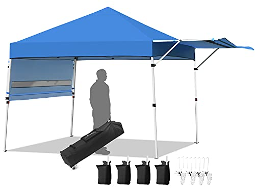 Tangkula 10x17FT Pop Up Canopy Tent, Portable Outdoor Tent w/ Adjustable Dual Awnings, Instant Canopy Shade Tent w/ Roller Bag, 4 Sand Bags, 4 Ropes & 8 Stakes, Pop-up Tent w/ 170 Feet Square of Shade