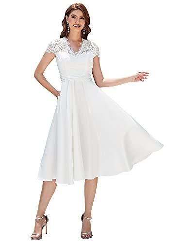 Ever-Pretty Vestido de Novia A-línea Largo para Mujer Encaje Mangas Casquillo Escote...