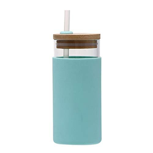 Auplew Vaso de paja para zumo de leche, vaso de paja transparente, 500 ml, creativo, transparente, con tapa de madera