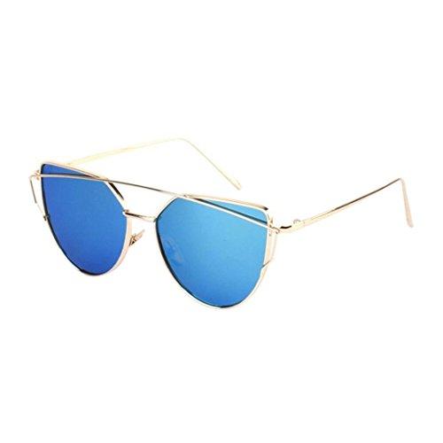 Ularma Damen Twin-Träger Vintage Classic Metallrahmen Sonnenbrille Katzenaugen Brille Reflektierenden Spiegel (Blue(Gold))