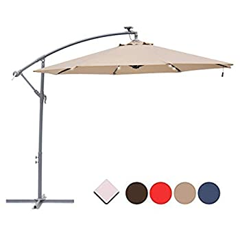 SUNNYARD 10  LED 32 Light Outdoor Patio Market Umbrella with Solar Power LED Lights Cantilever Offset Patio Umbrella with Crank 8 Ribs Taupe