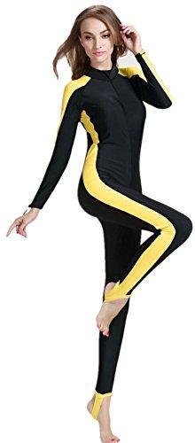 Modest Swimwear - Girls & Ladies Modesty Jumpsuit One Piece Ganzkörperansicht Badeanzug (Int'l - S, gelb)