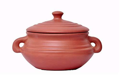 vaghbhatt Hand Made Clay Kadai, Pottery Earthen Kadai Natural Glazed Clay Cooker for Cooking with Covering Lid and Handle3 L Pack of 1 (Brown)