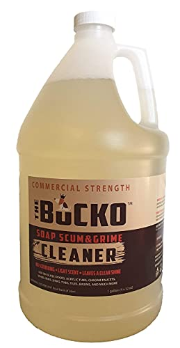 Product Image of the The Bucko Soap Scum and Grime Cleaner - Non-Toxic Soap Scum Remover Gallon (128 oz) |Grime Remover for Bathtubs, Showers, Glass Shower Doors | Multi-Purpose Cleaner Leaves a Beautiful Shine