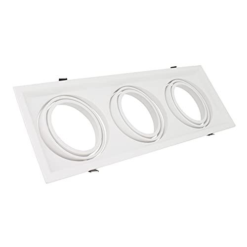 Anello Downlight quadrato basculante per tre lampadine LED AR111 (bianco)