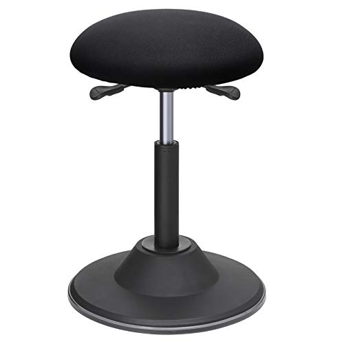 SONGMICS Office Stool Chair, Adjustable Height Sit Stand Stool, 360° Swivel Wobble Stool, for Office Home, Black UOSC01BK