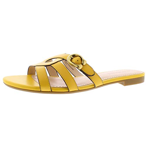 COACH Womens Kennedy Fabric Open Toe Casual Slide Sandals, Canary CY3, Size 5.5