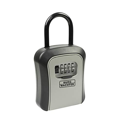 BURG-WÄCHTER Schlüsseltresor mit abnehmbarem Bügel und 4-stelligem Zahelncode für außen und innen, Sicher, Wandmontage, Key Safe 50 SB, Schwarz/Grau