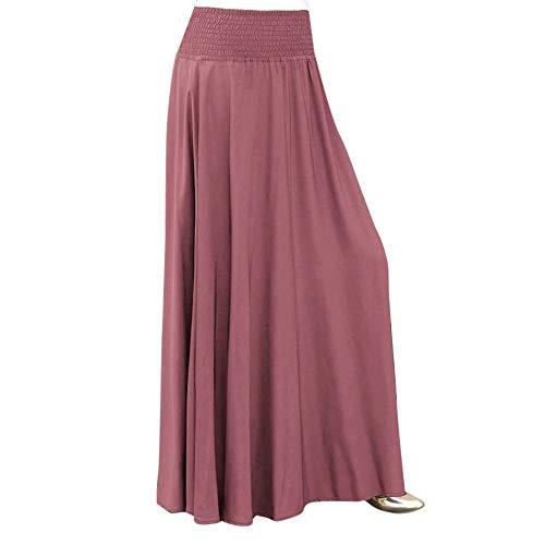 VEMOW Heißer Elegante Damen Faltenrock Mode Elastische Taille Feste Faltenrock Vintage A-line Lose Lange Röcke(Rosa, 2XL)