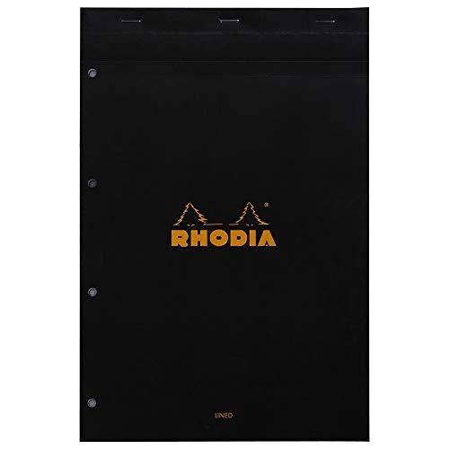 Rhodia 206009C Notizblock (DIN A4, 21 x 29,7 cm, mikroperforiert, liniert mit Rand, 80 Blatt) 1 Stück schwarz
