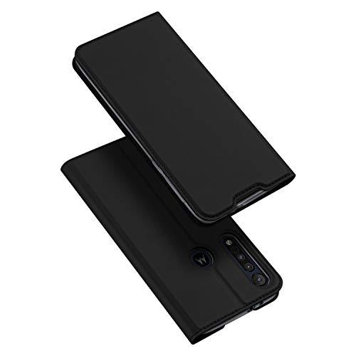 DUX DUCIS Hülle für Moto One Macro, Leder Flip Handyhülle Schutzhülle Tasche Hülle mit [Kartenfach] [Standfunktion] [Magnetverschluss] für Motorola Moto One Macro (Schwarz)
