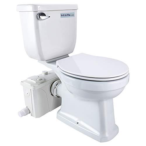 Intelflo macerating toilet kit included 500watt macerator pump and round toilet bowl, water tank, silent cover seat nano glaze finish, upflush toilet system(500watt)