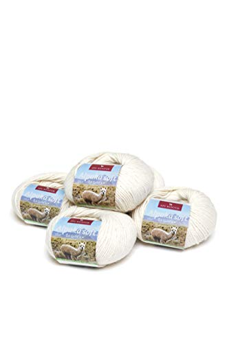 APU KUNTUR 100% Alpaka Wolle | Strick-Häkel-Garn weich, warm und kratzfrei | 5er Vorteilspack | 100m, Nadel 4,5 | wunderschöne Farben zum angenehmen Stricken und häkeln | Natur Ecru wollweiss