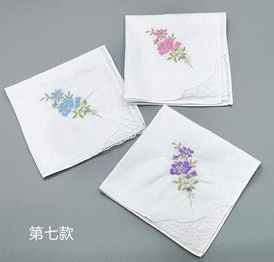 SushiSwap 3pcs Embroidery Flower White Handkerchiefs Ladies Lace Handkerchief Women Cotton Towels Chustki Zakdoek Fazzoletto Mouchoir H09 - See Chart - 354798