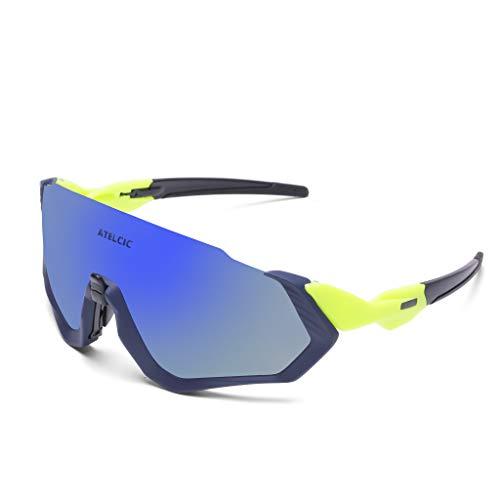 Gafas de Sol Deportivas para Ciclismo, Protección UV400 y Montura De TR-90 Resistentes a Golpes Antivaho para Hombre Mujer MTB Bicicleta Correr Montaña y Carretera (Amarilla (Lente Azul))