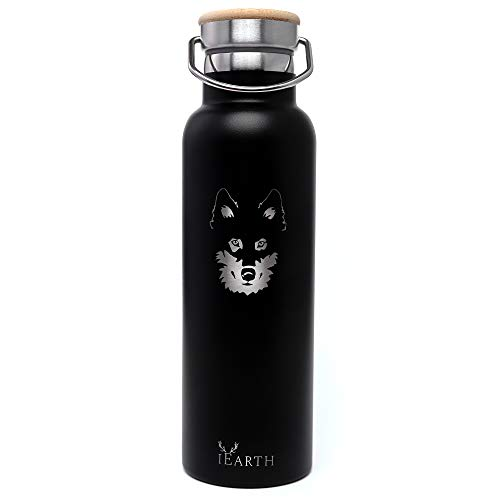 iEarth - Stainless -Steel Reusable Water Bottle, 600 ml, Vacuum Insulated double walled Flask, keeps your drinks Coffee Tea Milk Hot or Cold all day, for Sports and School. Bpa Free. Leak Proof.